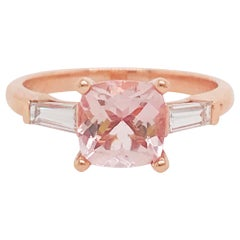 1.50 Carat Morganite and Diamond Three-Stone Engagement Ring Rose Gold