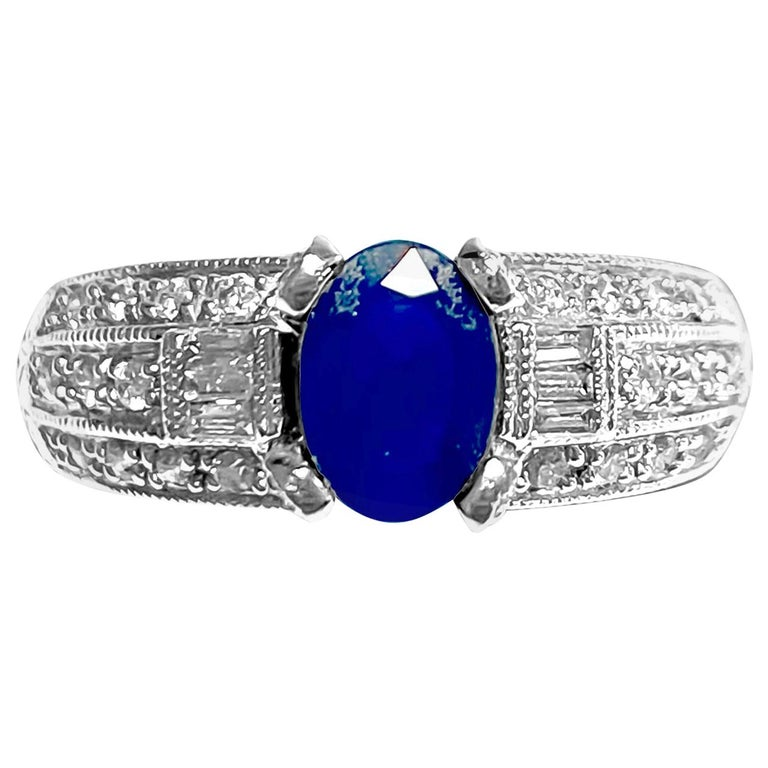 1.50 Carat Natural Blue Sapphire and Diamond Ring For Sale