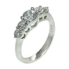 1.50 Carat Natural Diamond 5 Stone Ring Band G SI 14K White Gold