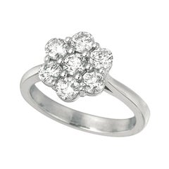 1.50 Carat Natural Diamond Cluster Flower Ring G SI 14 Karat White Gold