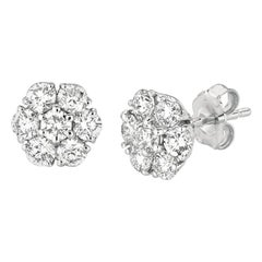 1.50 Carat Natural Diamond Flower Cluster Earrings G SI 14 Karat White Gold