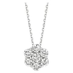 1.50 Carat Natural Diamond Flower Necklace 14 Karat White Gold G SI Chain