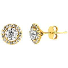 1.50 Carat Natural Diamond Halo Earrings G SI 14 Karat Yellow Gold