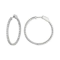 1.50 Carat Natural Diamond Hoop Earrings G-H SI in 14K White Gold 2 Pointers