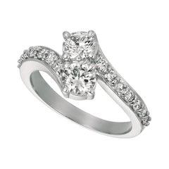 1.50 Carat Natural Diamond Ring G SI 14 Karat White Gold