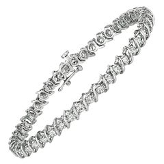 1.50 Carat Natural Diamond S Style Bracelet G-H SI 14 Karat White Gold