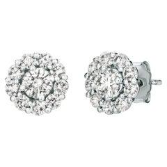 1.50 Carat Natural Diamond Stud and Jacket Earrings G-H SI 14 Karat White Gold
