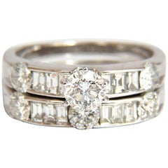 1.50 Carat Natural Diamonds Baguette and Rounds Matching and Band Ring