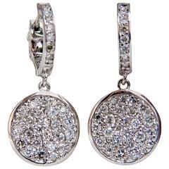1.50 Carat Natural Diamonds Dangle Earrings 14 Karat Circle Dangles