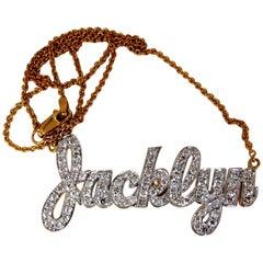 1.50 Carat Natural Diamonds Jacklyn Name Plate Necklace 14 Karat