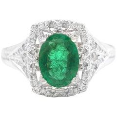 1.50 Carat Natural Emerald and Diamond 14 Karat Solid Yellow Gold Ring