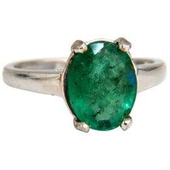 1.50 Carat Natural Oval Bright Green Emerald Ring 14 Karat