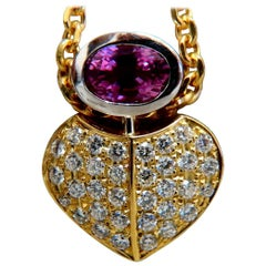 1.50 Carat Natural Pink Sapphire Diamonds Necklace 18 Karat