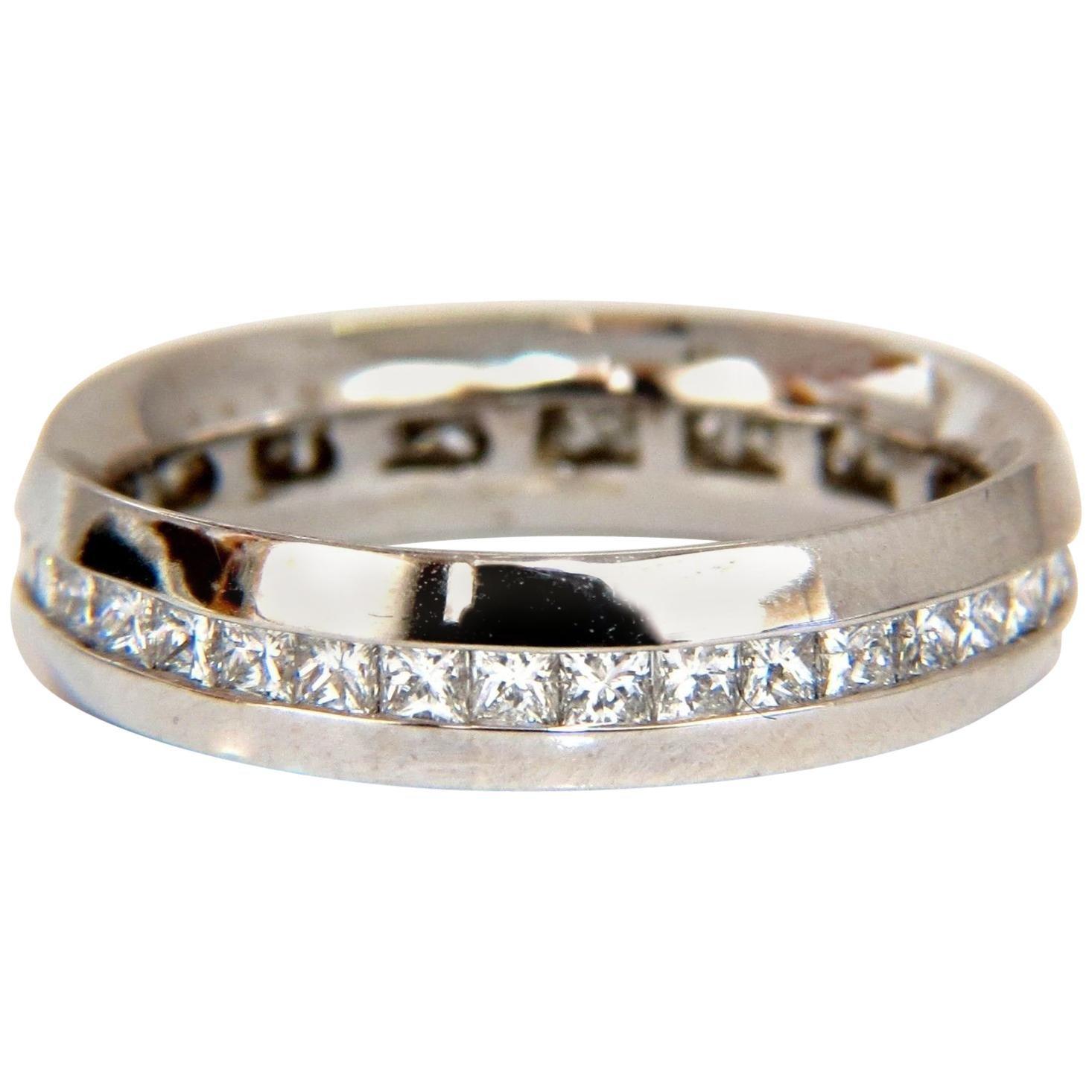 1.50 Carat Natural Princess Cut Diamonds Eternity Ring 14 Karat Comfort