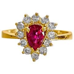 1.50 Carat Natural Ruby Diamond Womens Ring 14 Karat Yellow Gold