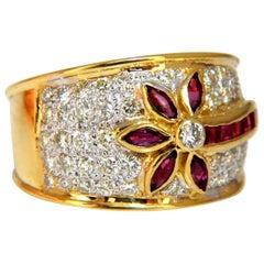 1.50 Carat Natural Ruby Diamonds Ring Flower 18 Karat