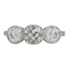 1.50 Carat Old Cut Diamond Trilogy Platinum Ring