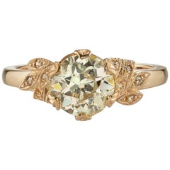 1.50 Carat Old European Cut Diamond in a Handcrafted 18k Gold Floral Design Ring
