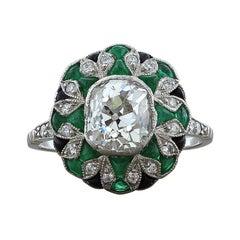 1.50 Carat Old Mine Cut Diamond Emerald Platinum Engagement Ring