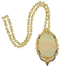 150 Carat Opal Diamond Gold Sapphire Massive Pendant Necklace