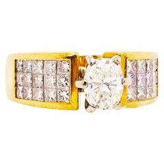 Oval Diamond Ring, 1.50 Carat with Princess Cut Diamond Band, 18 Karat Gold
