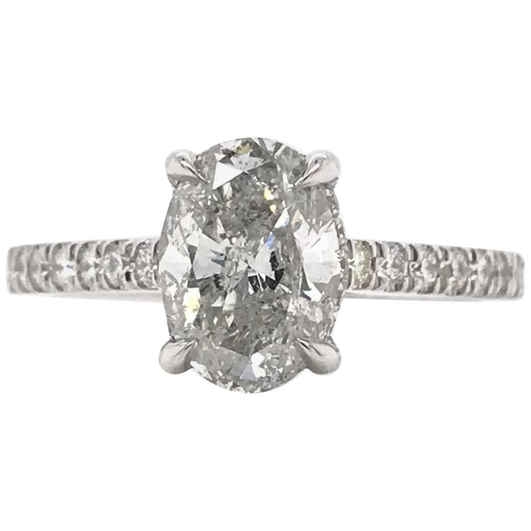 1.50 Carat Oval Diamond Hidden Halo Engagement Ring
