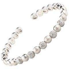 1.50 Carat Pave Diamond Cuff Bracelet Set in 14 Karat White Gold