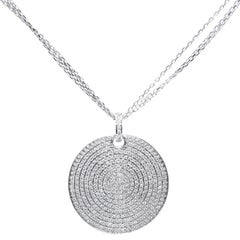 1.50 Carat Pave Set H-SI Round Brilliant Diamonds 18KT Gold Modern Disc Pendant