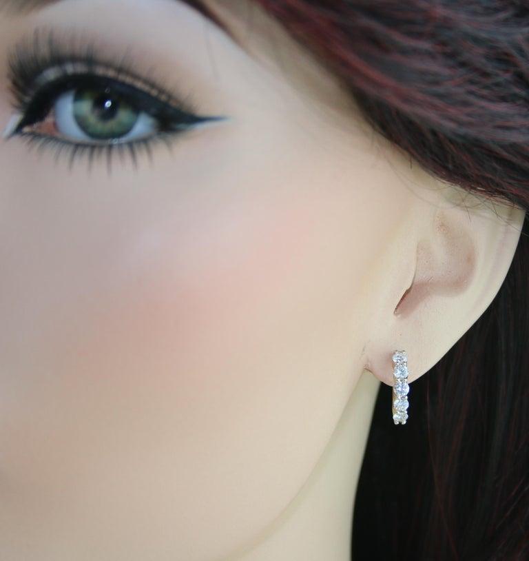 Round Cut 1.50 Carat Petite Diamond Gold Huggie Hoop Earrings For Sale