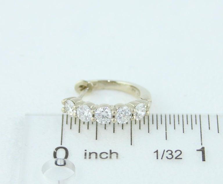 Women's 1.50 Carat Petite Diamond Gold Huggie Hoop Earrings For Sale
