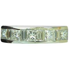 1.50 Carat Platinum Princess and Baguette Diamond Ring H/VS Band