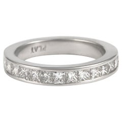 1.50 Carat Princess Cut Diamond Eternity Band Bezel Set Platinum Half Band