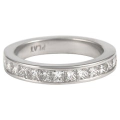 1.50 Carat Princess Cut Diamond Eternity Band Bezel Set Platinum Half Band