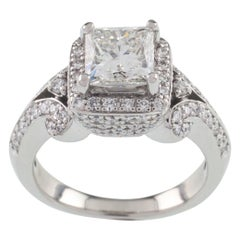 1.50 Carat Princess Cut Diamond Solitaire Ring with Accent Stones in Platinum