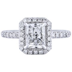 GIA Certified 1.50 Carat Radiant Cut Diamond Engagement Ring w/ a Pave Set Halo