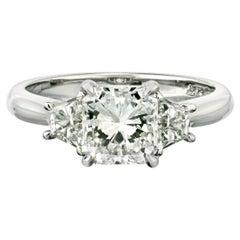 1.50 Carat Radiant Cut Diamond H/SI2 GIA Three-Stone Engagement Ring