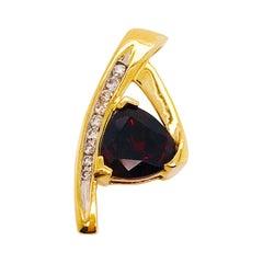 1.50 Carat Red Garnet and .10 Diamond Slide Pendant, Estate Piece in Yellow Gold