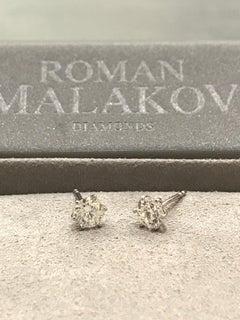 1.25 carat round brilliant 6 prong diamond stud earrings.