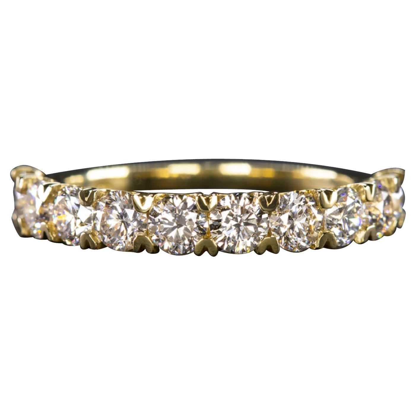 1.50 Carat Round Brilliant Cut Diamond Band Ring 18 Carat Yellow Gold