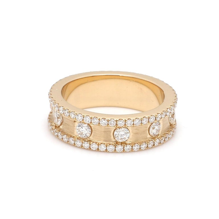 A Beautiful Handcrafted Infinity Ring in 18 Karat Yellow Gold with Natural Brilliant Cut Round Diamond . A perfect Wedding Ring for the Special occasion  Natural Diamond Details Pieces : 106 Pieces Weight : 1.54 Carat  Clarity of Diamond :