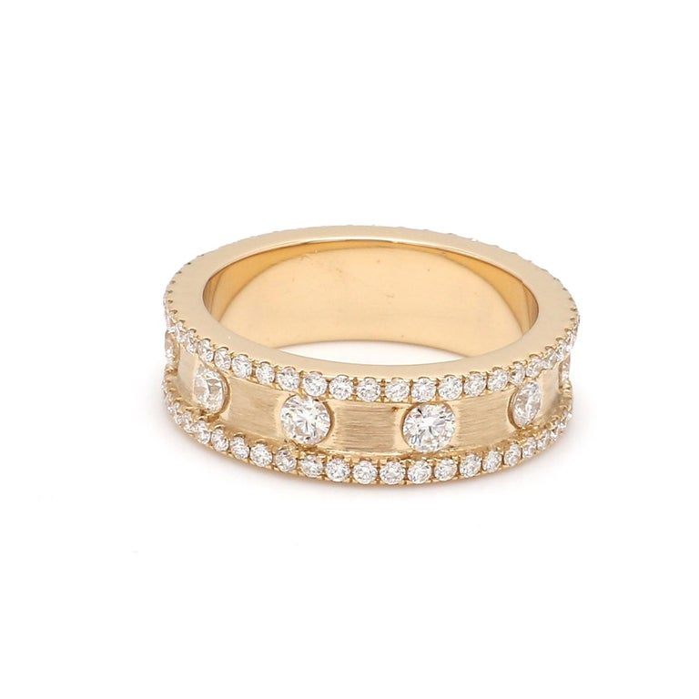 Contemporary 1.50 Carat Round Brilliant Cut Eternity Diamond 18 Karat Yellow Gold Satin Ring For Sale