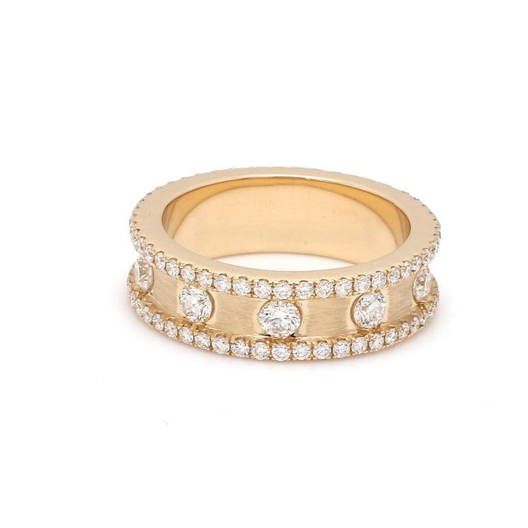 Round Cut 1.50 Carat Round Brilliant Cut Eternity Diamond 18 Karat Yellow Gold Satin Ring For Sale