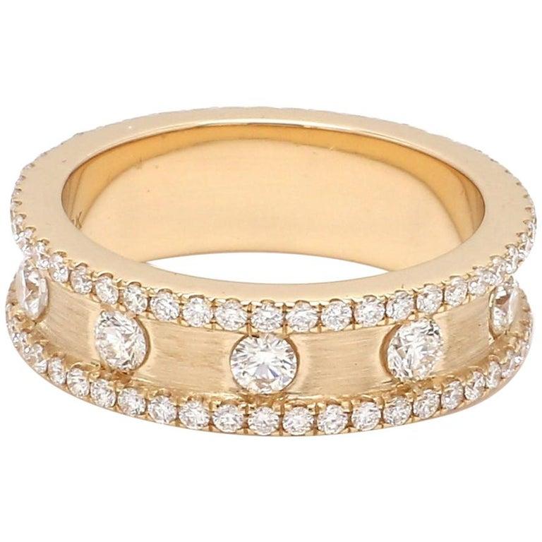 1.50 Carat Round Brilliant Cut Eternity Diamond 18 Karat Yellow Gold Satin Ring For Sale