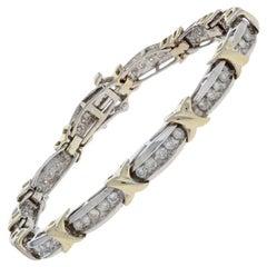 1.50 Carat Round Brilliant Diamond Bracelet, 10 Karat White Gold Link