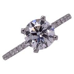 1.50 Carat Round Brilliant Diamond Engagement Ring GIA H/VS2 18 Karat White Gold