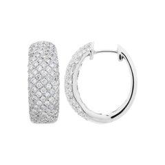 1.50 Carat Round Cut Diamond Hoop Earrings in 18 Karat White Gold