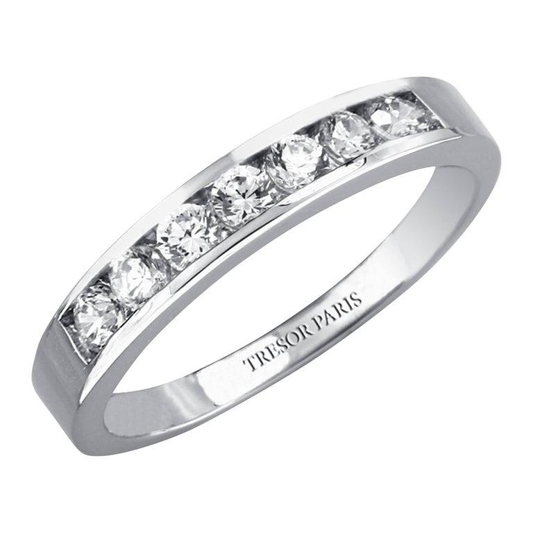 1.50 Carat Round Diamond Channel Set Half Eternity Band Ring 18 Karat White Gold