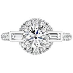 1.50 Carat Round Diamond Engagement Ring with 1.07 Carat Baguette Accents
