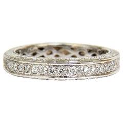 1.50 Carat Round Diamonds Eternity Band Ring 14 Karat F/VS