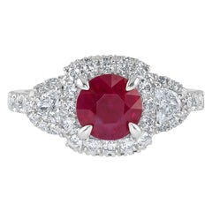 1.50 Carat Ruby and Diamond White Gold Three-Stone Ring